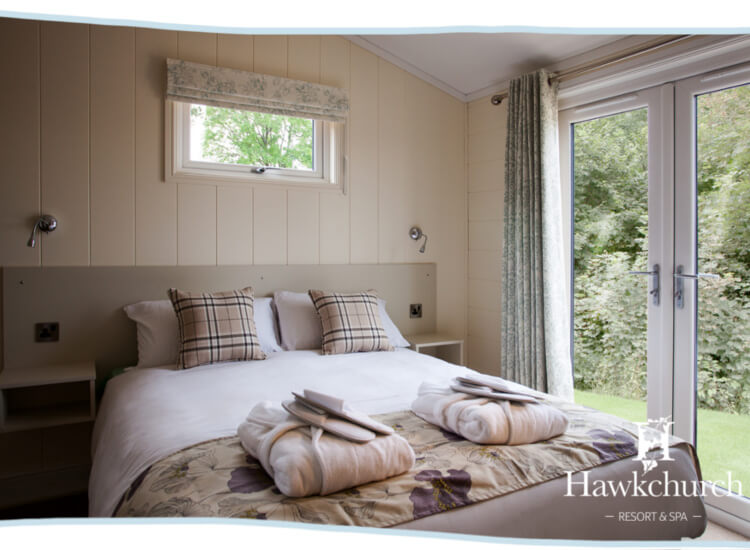 Interior shot of the bedroom in the marple lodge