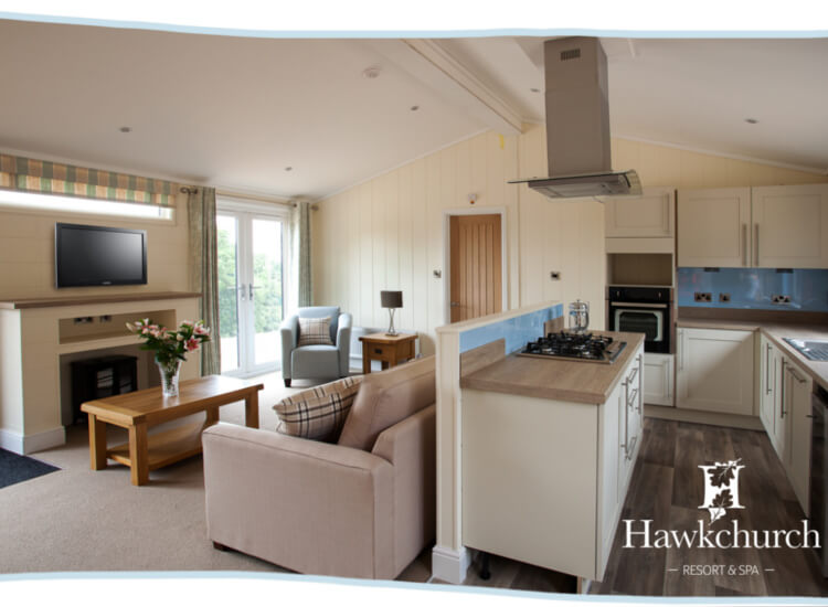 Interior shot of the open plan living area in the Marple lodge