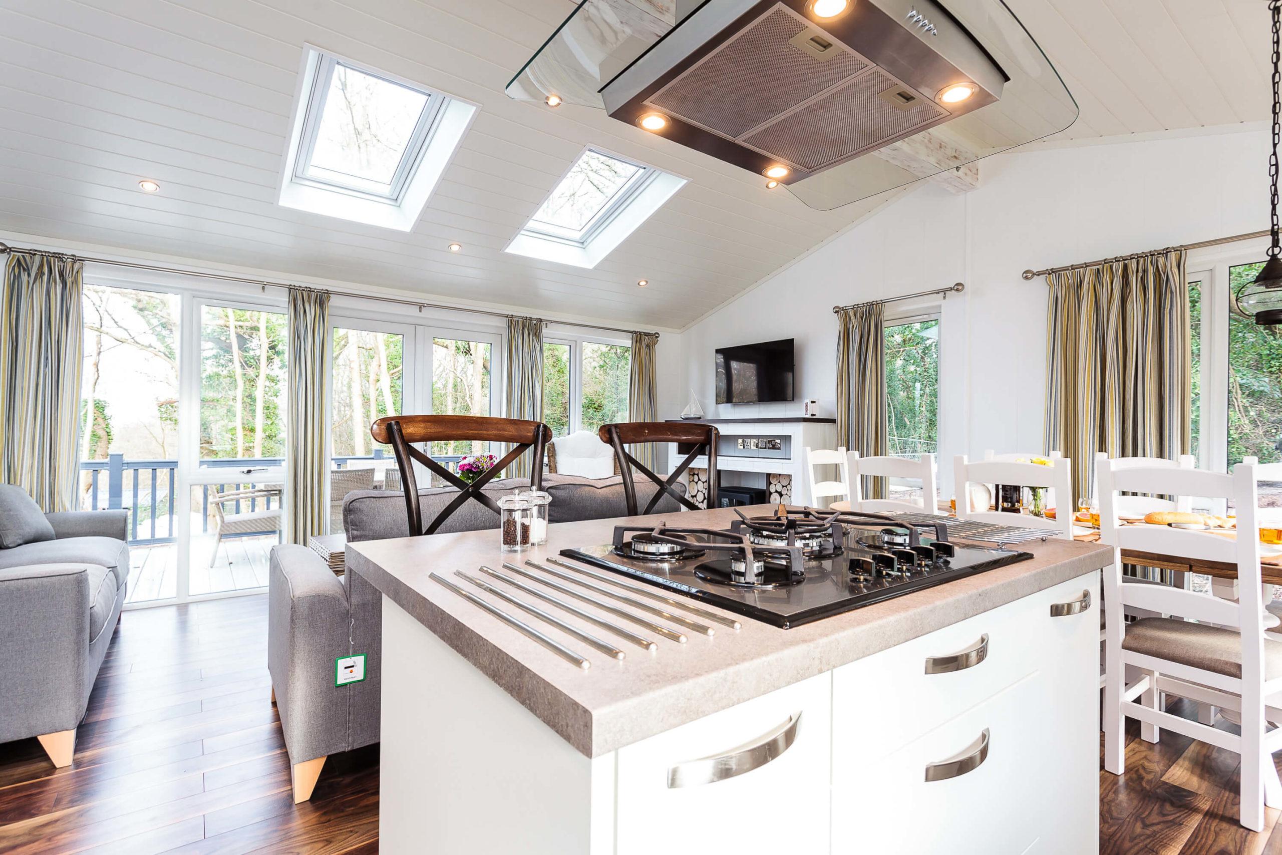Interior shot of a Woodside Bay lodge kitchen island