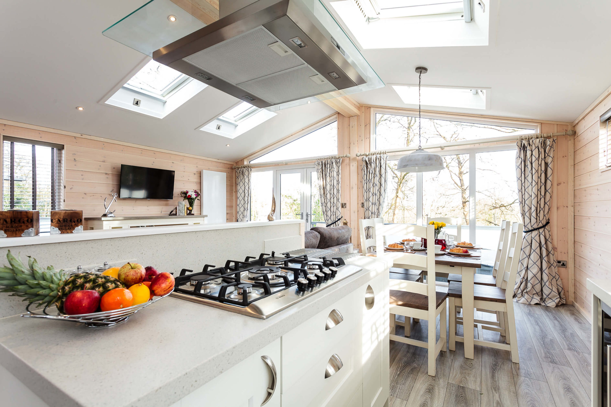 Interior shot of a kitchen in a lodge at Woodside Bay