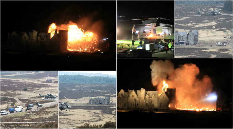 Collage photo of skyfall film scenes in surrey
