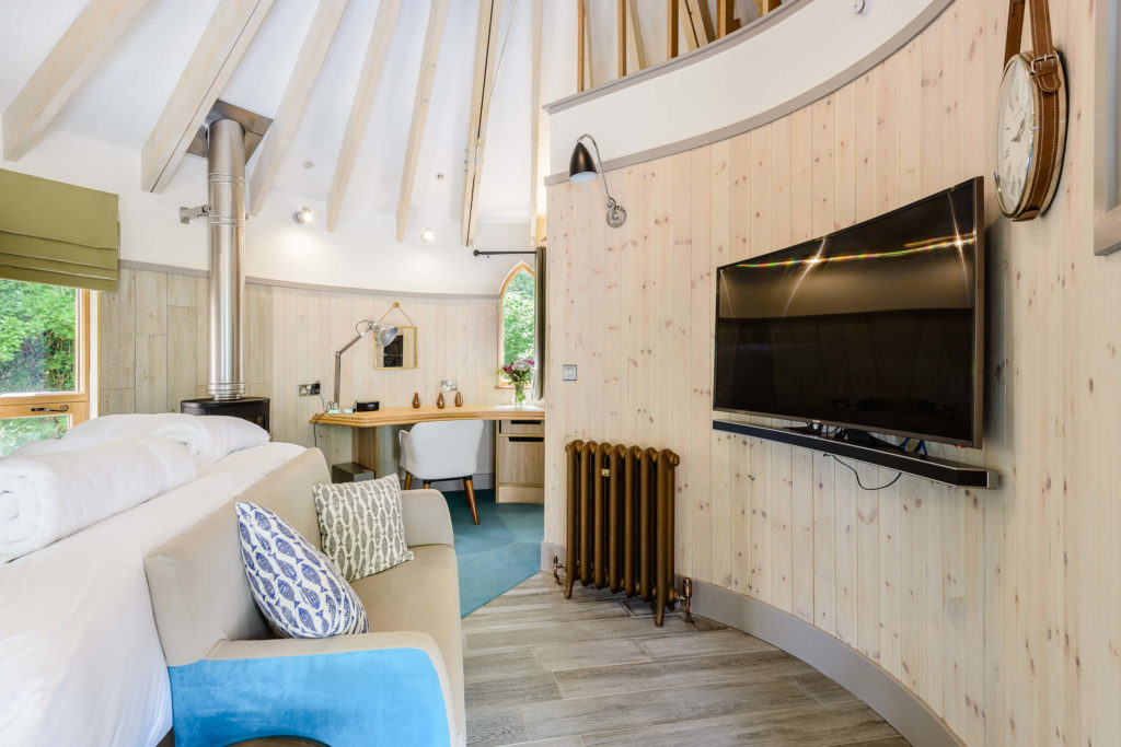 Interior shot of the TV in the Treehouse at Woodside Bay