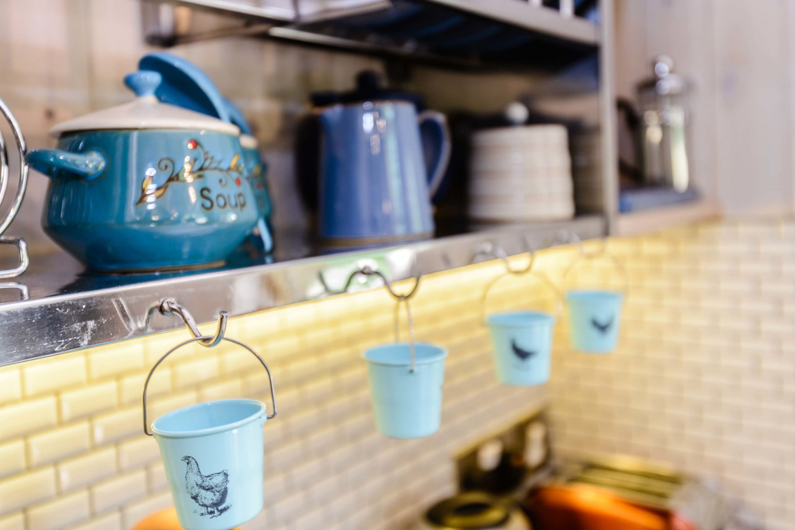 Close up of the kitchen pots in the treehouse at Woodside Bay
