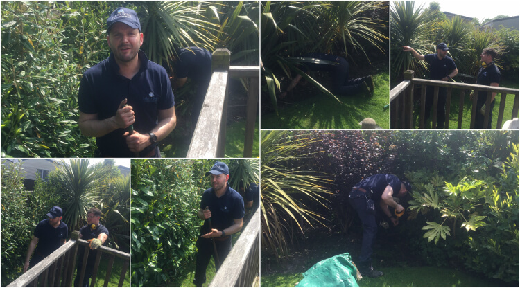A photo collage of Brad from the grounds team at Talacre Beach