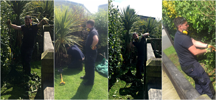photo collage of grounds team member working on the gardens