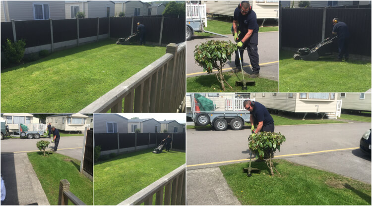 A photo collage of Emyr and Luke from the grounds team at Talacre Beach