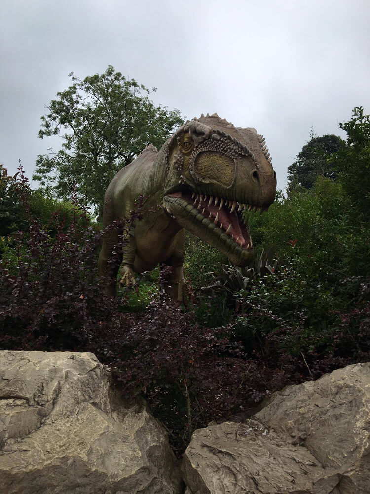 T-Rex dinosaur model surrounded by boulders and greenery at Chester Zoo