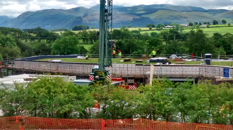 Photo of a crane at Keswick Reach during the redevelopment