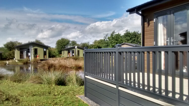 Photo of Keswick Reach's lodges during the redevelopment