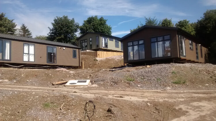 Photo of the lodges at Keswick Reach during construction