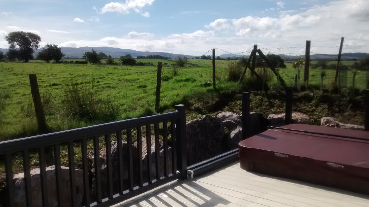 View from a lodge decking at Keswick Reach