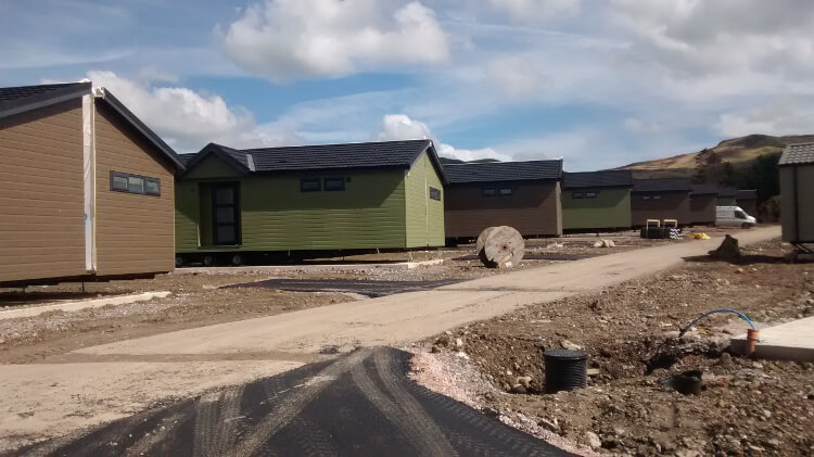 lodges at Keswick Reach during the resort's redevelopment