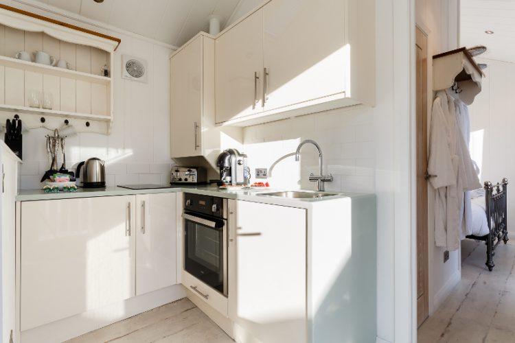 Interior shot of a kitchen in beach hut