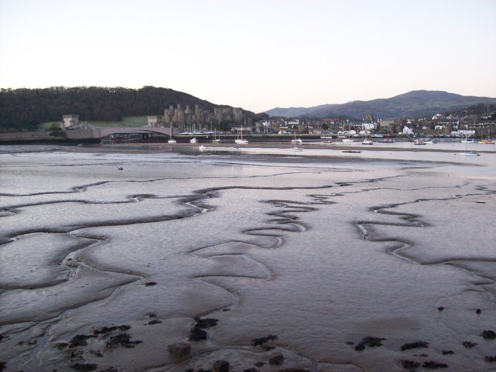 view across the bay towards the town