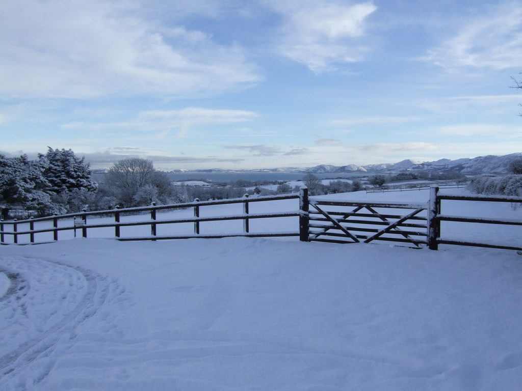 Photo of snowy countryside in North Wales