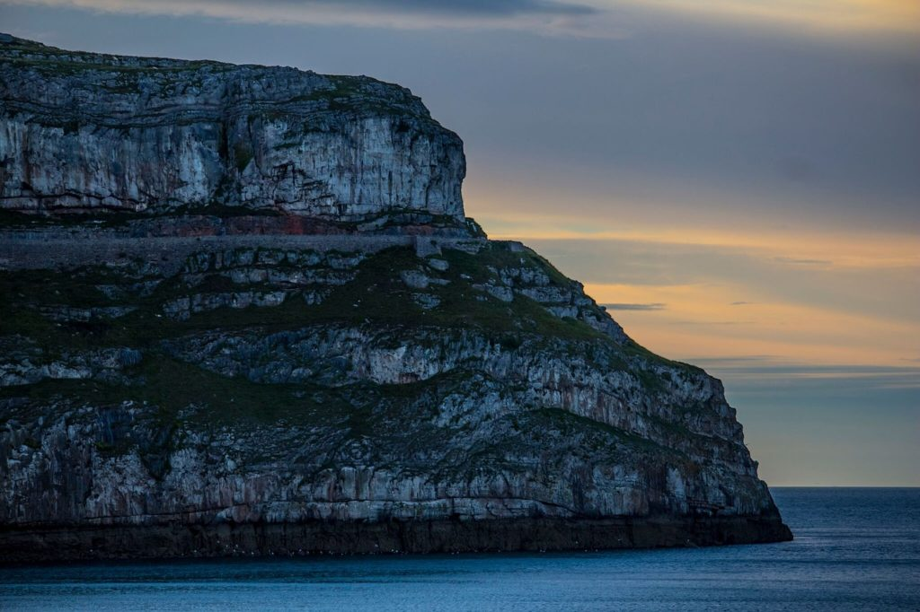 cliff face over the sea