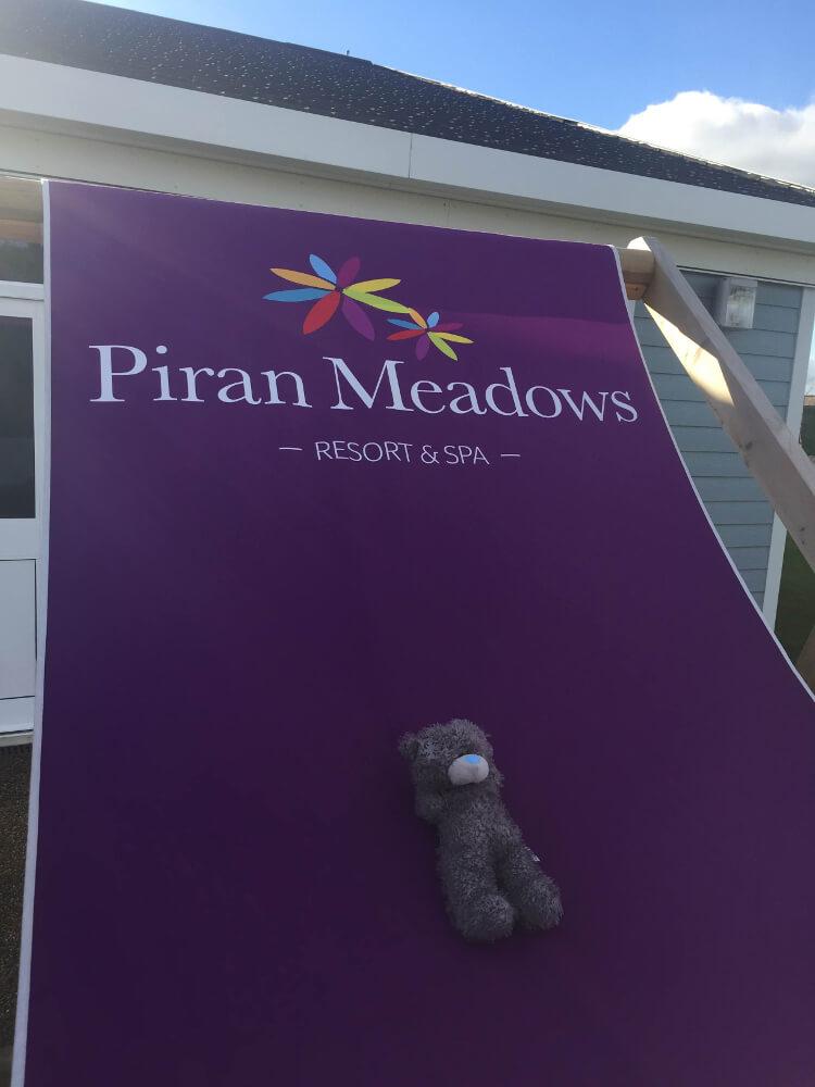 Teddy sat on a Piran Meadows deckchair