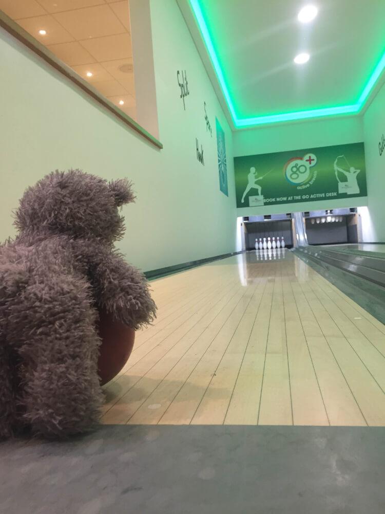 Teddy bowling at Piran Meadows
