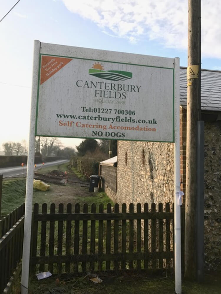 Canterbury Reach old sign