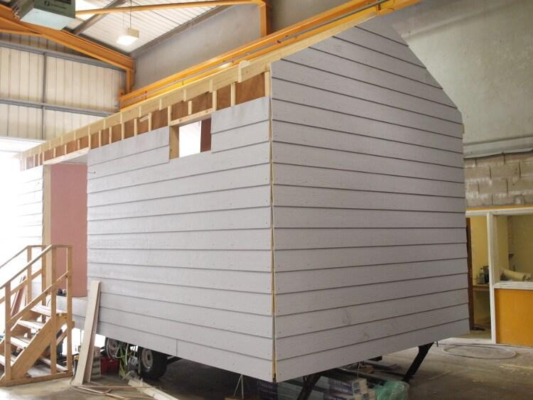 Photo of a beach hut under construction