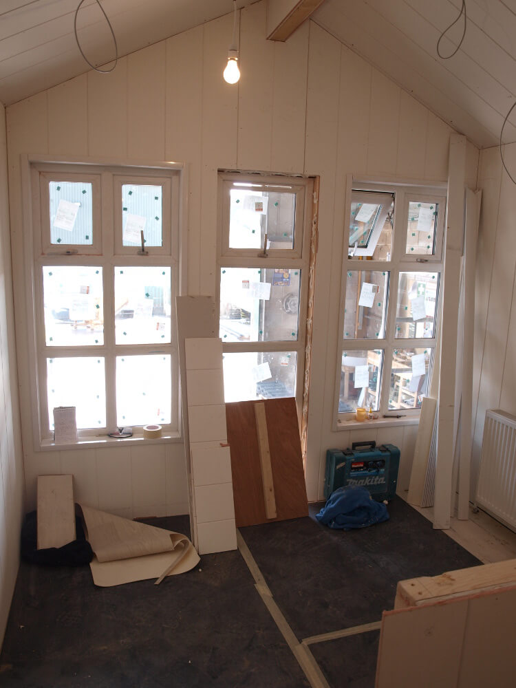 Photo of the inside of a beach hut under construction