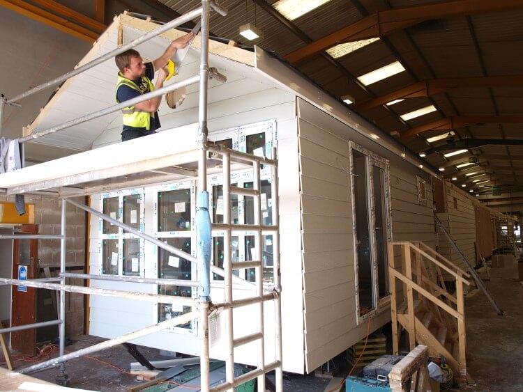 Shot of a beach hut being built