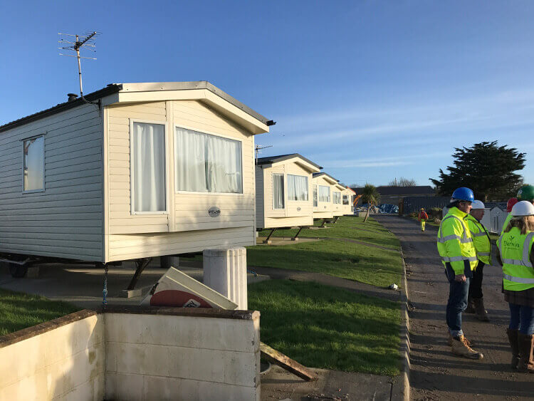Photo of caravans at Sandymouth during redevelopment