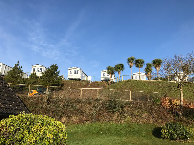 Photo of caravans on a hillside at Sandymouth