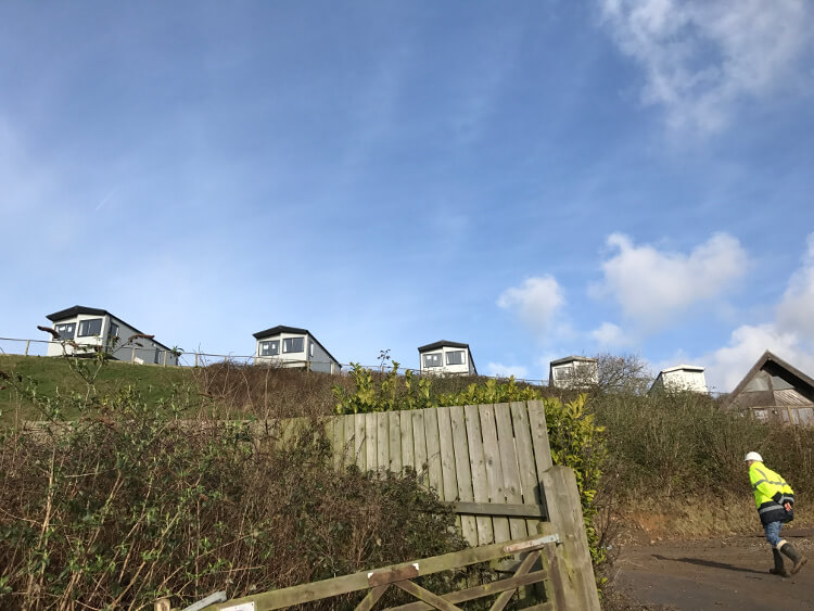 Photo of caravans on the hillside at Sandymouth