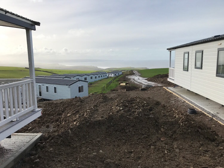 Photo of the caravans at Sandymouth Holiday Resort during the redevelopment