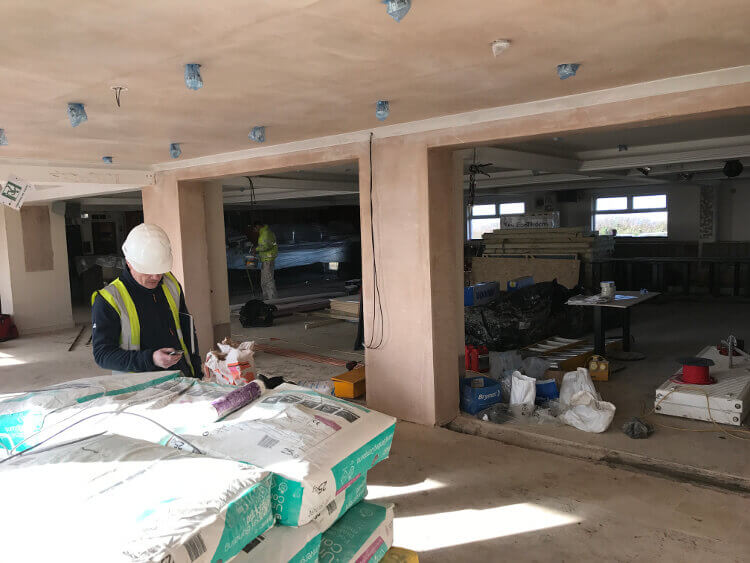 Interior shot of the main building at Sandymouth during the redevelopment