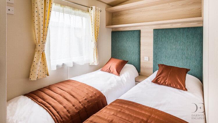 Interior shot of the twin bedroom in the ABI Beachcomber
