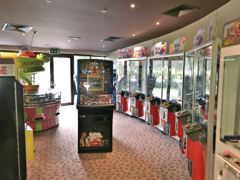 Photo of the game machines in the arcade at Talacre