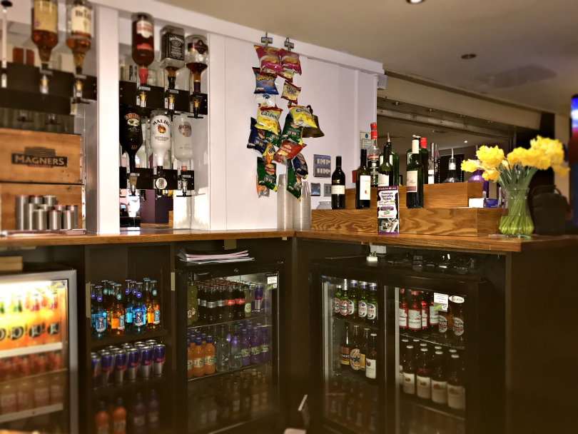 Photo of behind the bar in the clubhouse