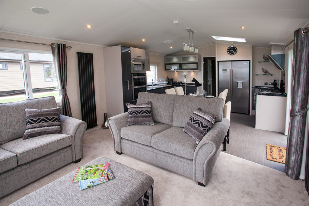 Interior shot of the open plan living area in the Carnaby Envoy