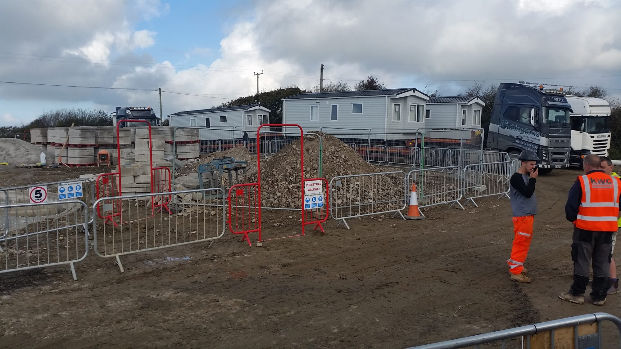 Photo of the caravans at Sandymouth during redevelopment