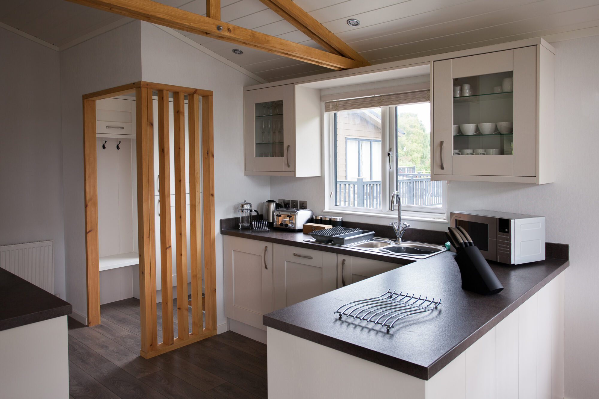 Interior shot of a kitchen in a lodge at Bath Mill