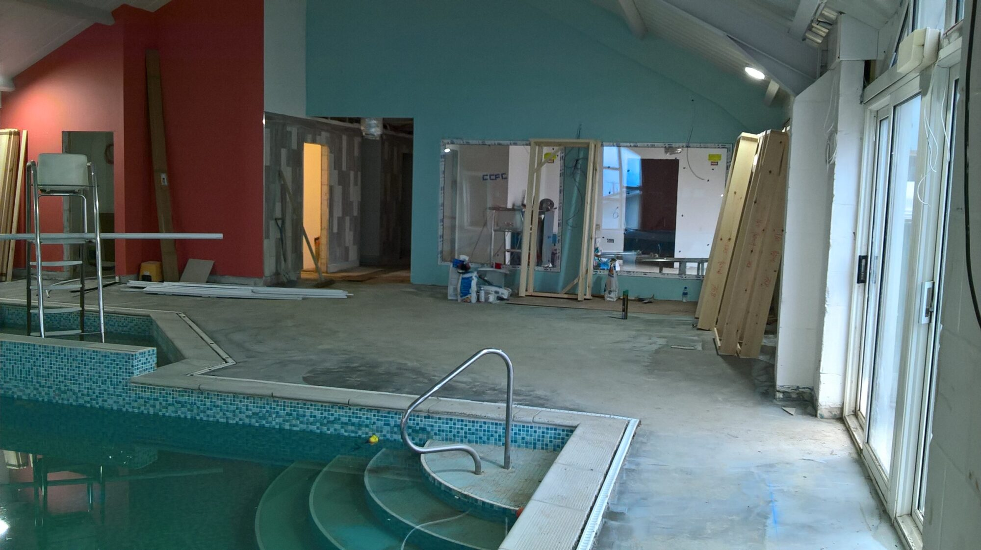 Photo of the swimming pool during redevelopment