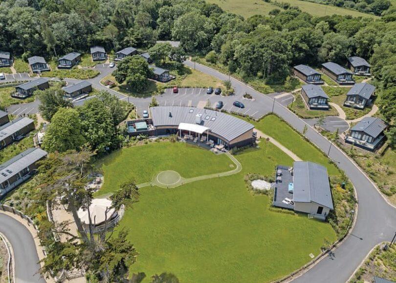 Aerial shot of the facilities at Woodside Bay Lodge Retreat