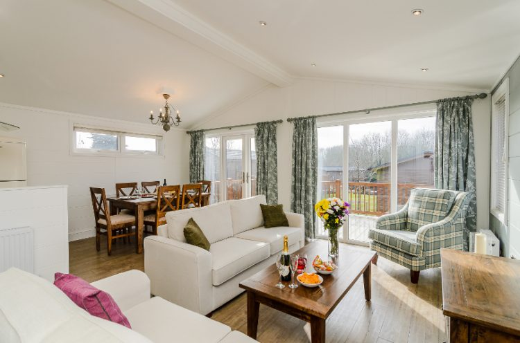 Interior of an open plan living area in a lodge at Canterbury Reach