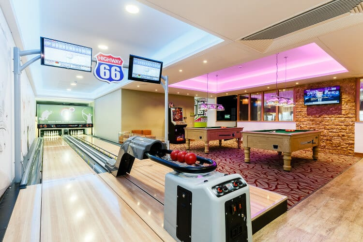 Photo of the Cheddar Woods bowling alley
