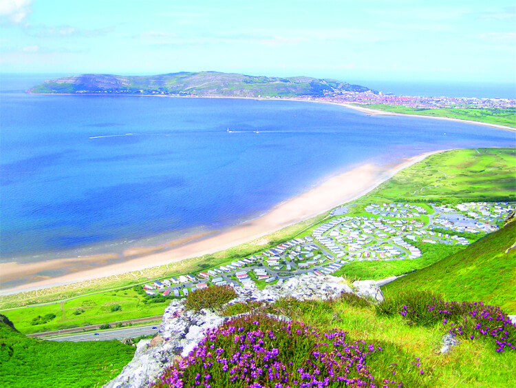 Aerial shot of Aberconwy Resort & Spa on a sunny day