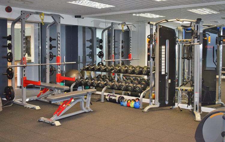 Interior shot of the gym at Aberconwy Resort