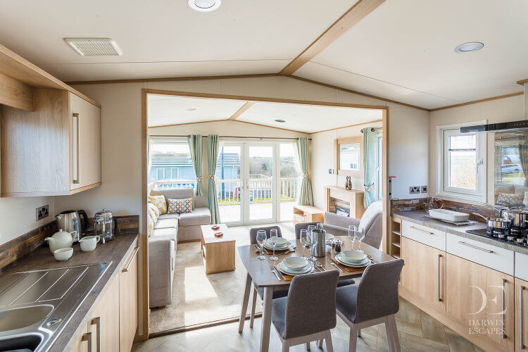 Interior shot of the open plan living area in the ABI Malham