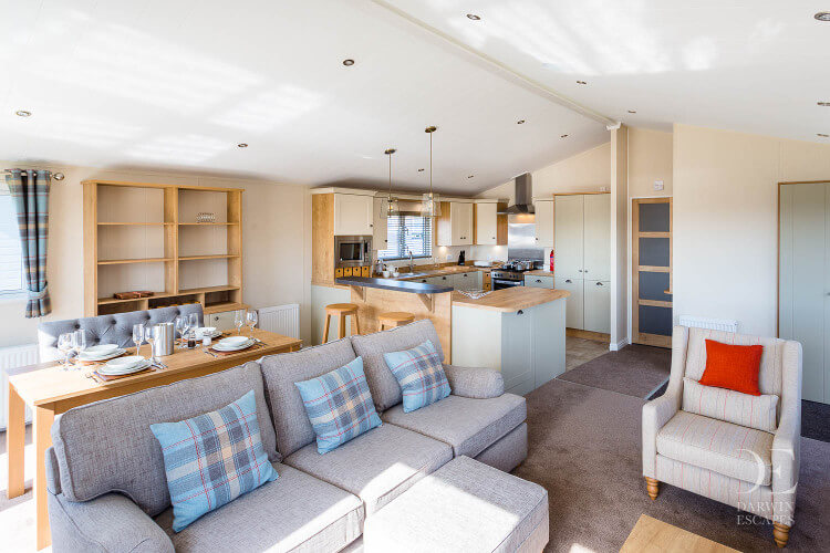 Interior shot of the Willerby Portland lodge's open plan