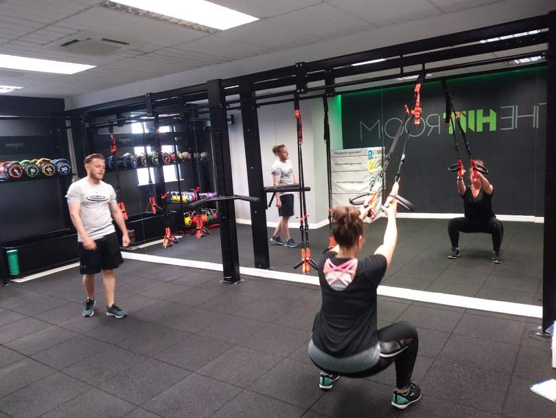 Darwin Escapes' Katrina Lawson doing squats in the new HIIT room at Langley's