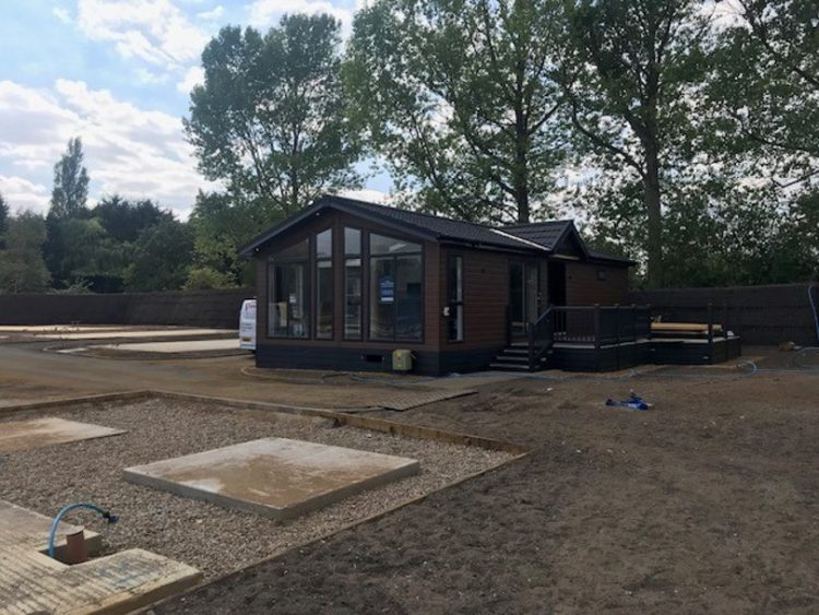 Photo of a lodge at Norfolk Woods during redevelopment