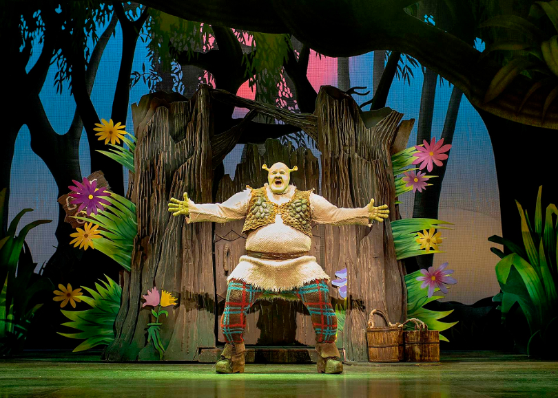 Photo of Shrek on stage during a performance of Shrek the Musical