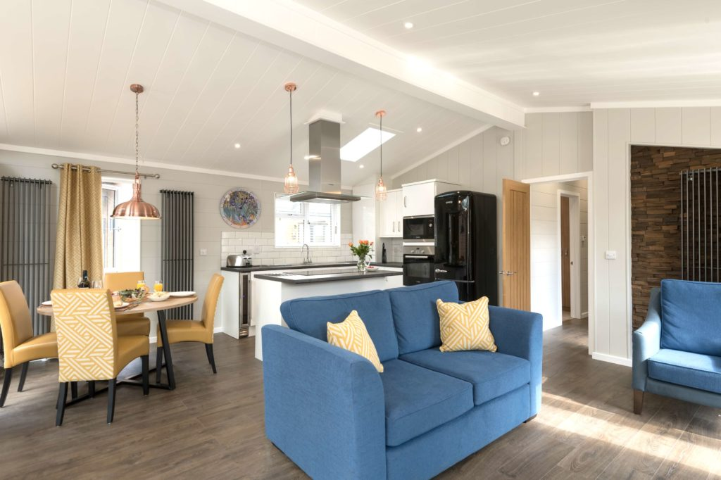Interior shot of a Norfolk Woods lodge living area