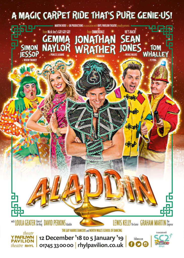 Photo of the promo poster for the Aladdin Panto at Rhyl Pavilion